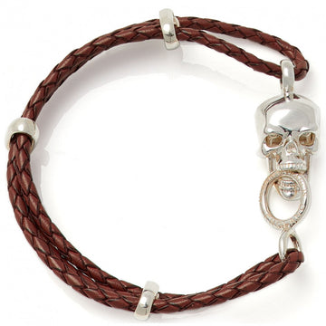 Deakin & Francis Leather Multi-Strand Bracelet, Brown, Length 7.5 inches