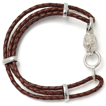 Deakin & Francis Leather Lionhead Bracelet, Brown, Length 7.5 inches