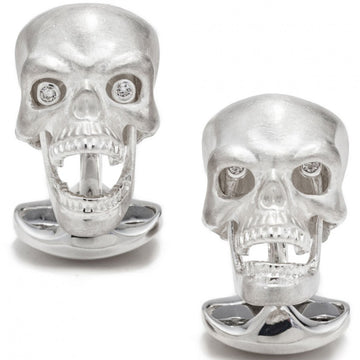 Deakin and Francis Skull Cufflinks with Diamond Eyes and Moving Jaw, Sterling Silver