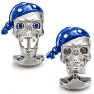 Deakin and Francis Sterling Silver and Blue Cufflinks, Pirate Skull with Sapphire Eyes