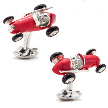 Deakin and Francis Red Racing Car Cufflinks, Sterling Silver