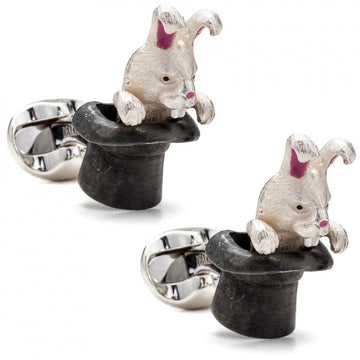 Deakin and Francis Rabbit in Hat White and Black Cufflinks - upscaleman.myshopify.com