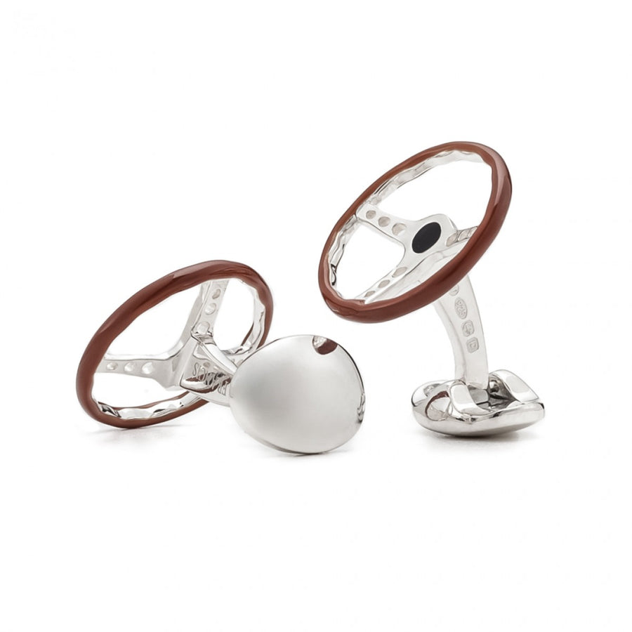 Deakin and Francis Men's Vintage Sterling Silver Steering Wheel Cufflinks, Brown