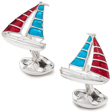 Deakin and Francis Sterling Silver Yacht Cufflinks, Red and Blue