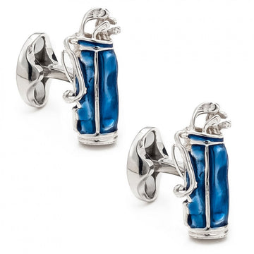 Deakin and Francis Men's Sterling Silver Golf Cufflinks, Blue