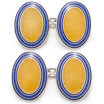 Deakin and Francis Vitreous Enamel Designer Cufflinks on a Chain Fitting, Blue and Yellow