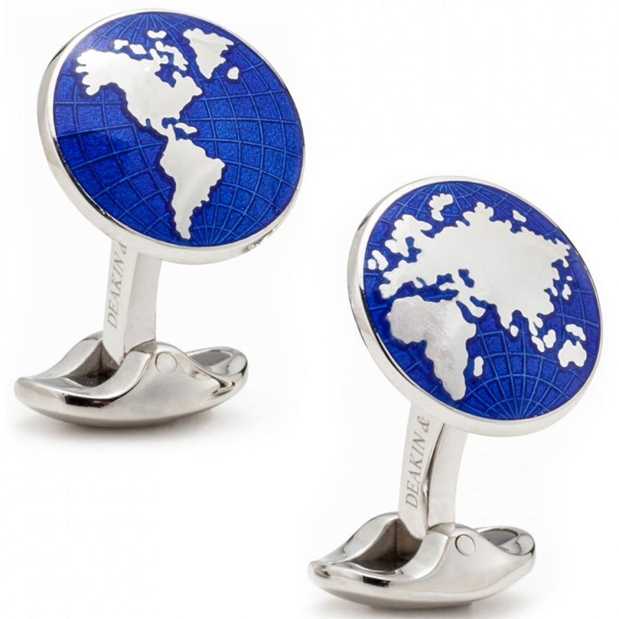 Deakin and Francis Sterling Silver World in Blue Cufflinks