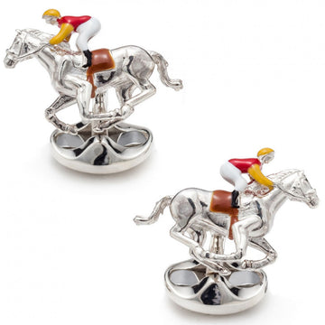 Deakin and Francis Sterling Silver Jockey and Horse Cufflinks, Red and Yellow