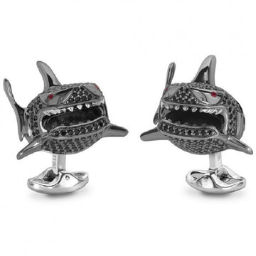 Deakin and Francis Sterling Silver Black Spinel Shark Cufflinks