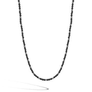 John Hardy 4mm Black Onyx and Sterling Silver Bead Necklace, 20-24 inches - upscaleman.myshopify.com
