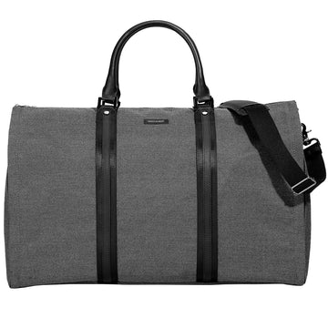 Hook and Albert Garment Weekender Bag with Shoe Compartment, Grey and Black