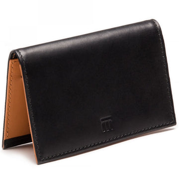 Ettinger Men's Bridle Hide Flat Credit Card Case, Black and Tan