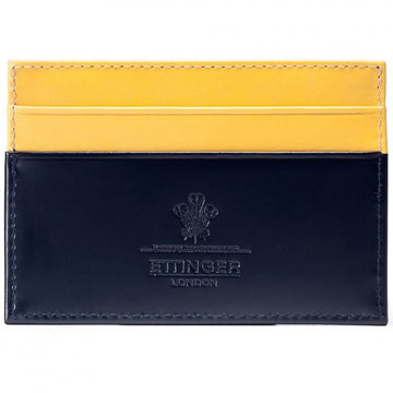 Ettinger Men's Bridle Hide Flat Credit Card Case, Navy and Bridle Tan