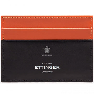 Ettinger Men's Sterling Flat Credit Card Case, Orange and Black