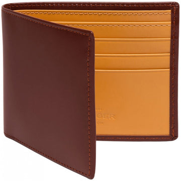 Ettinger Havana Brown and Tan Leather Wallet, 6 Credit Card Slips