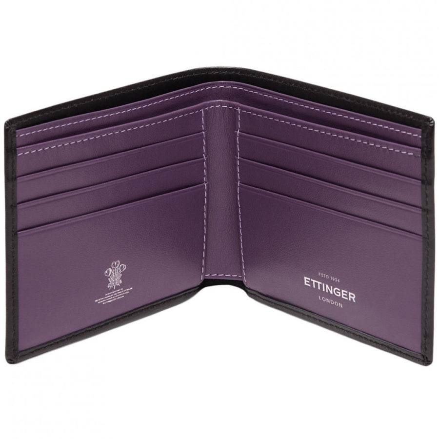 Ettinger Sterling Billfold with 6 Credit Card Slips, Purple