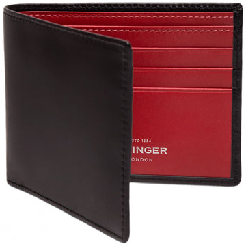 Ettinger Sterling Billfold Black Wallet with Red Interior and 6 Credit Card Slips