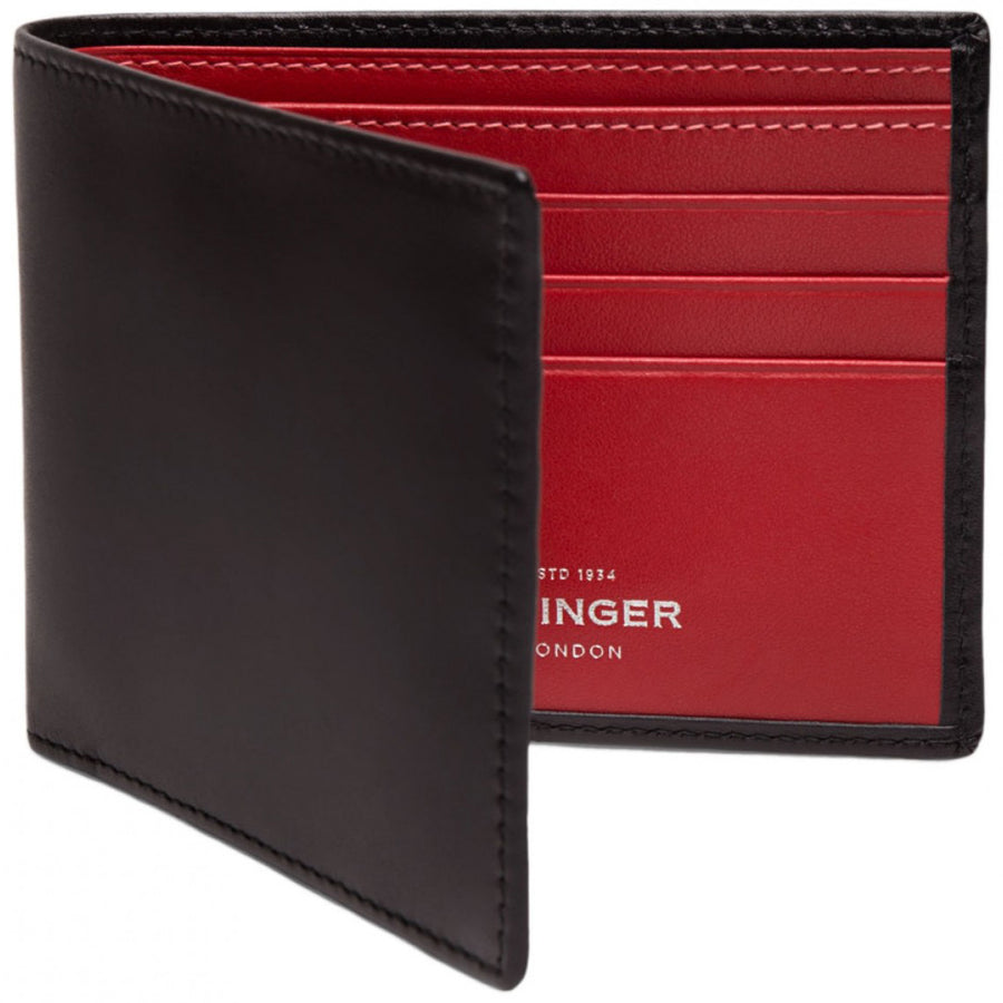 Ettinger Sterling Billfold Black Wallet with Red Interior and 6 Credit Card Slips - upscaleman.myshopify.com
