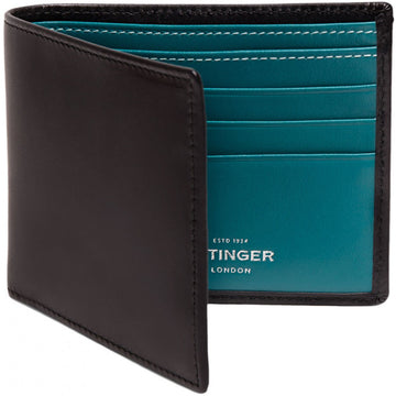 Ettinger Sterling Billfold with 6 Credit Card Slips, Turquoise