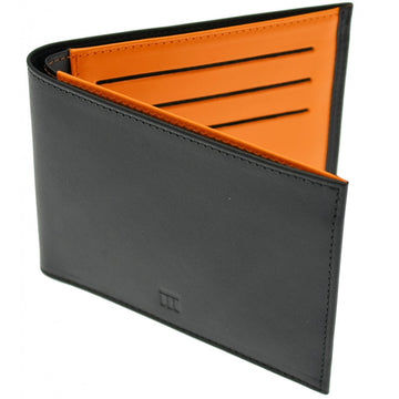 Ettinger TT Vertical Billfold Leather Wallet with 6 Credit Card Slots, Black and Tan