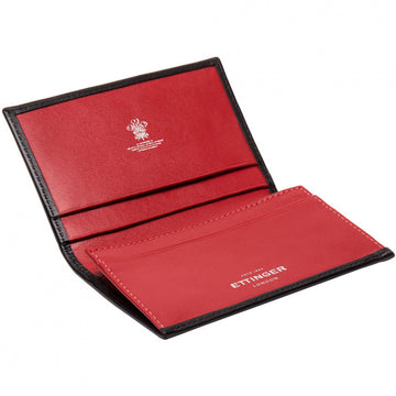 Ettinger Men's Sterling Visiting Card Case, Black and Red