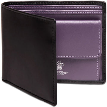 Ettinger Sterling Collection Billfold with 3 C/C and coin Purse, Black/Purple - upscaleman.myshopify.com