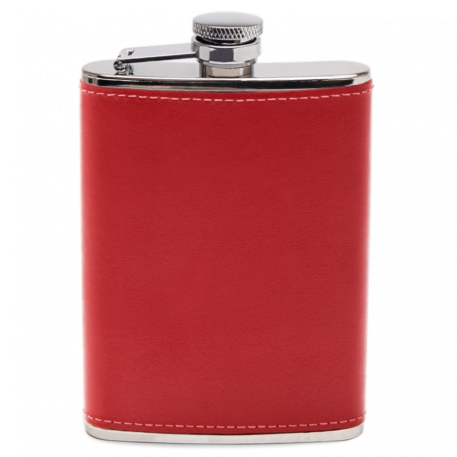 Ettinger Sterling Collection 6OZ Captive Top Leather Bound Hip Flask with Funnel, Red/Silver