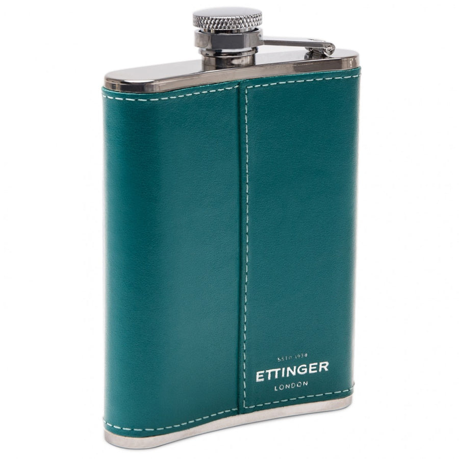 Ettinger Sterling Collection 6OZ Captive Top Leather Bound Silver Hip Flask, Turquoise