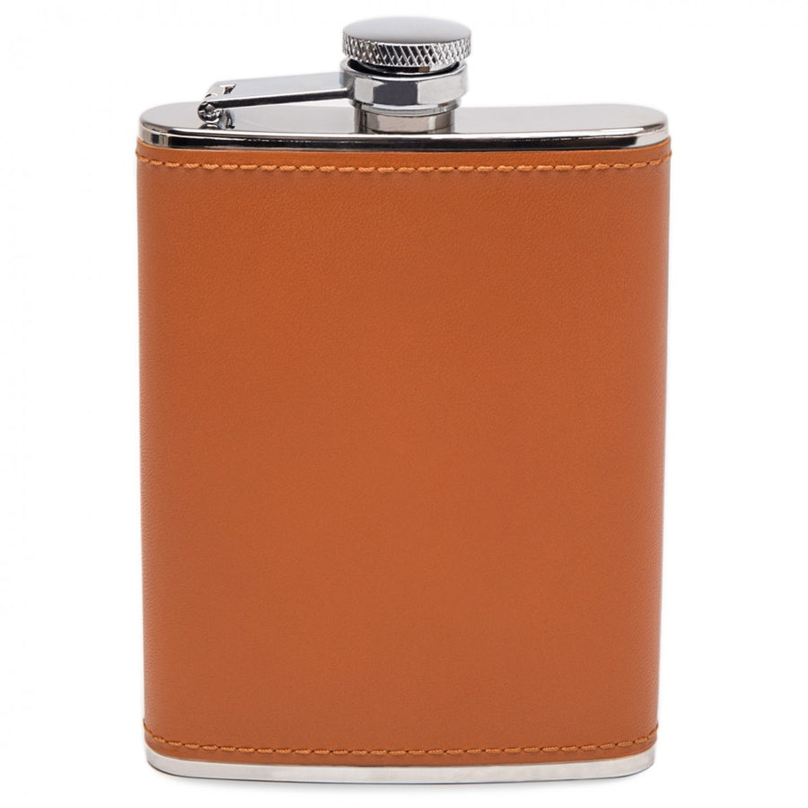 Ettinger Lifestyle Collection 6 oz Stainless Steel Hip Flask with Captive Top and Bound in Leather, Tan/Silver