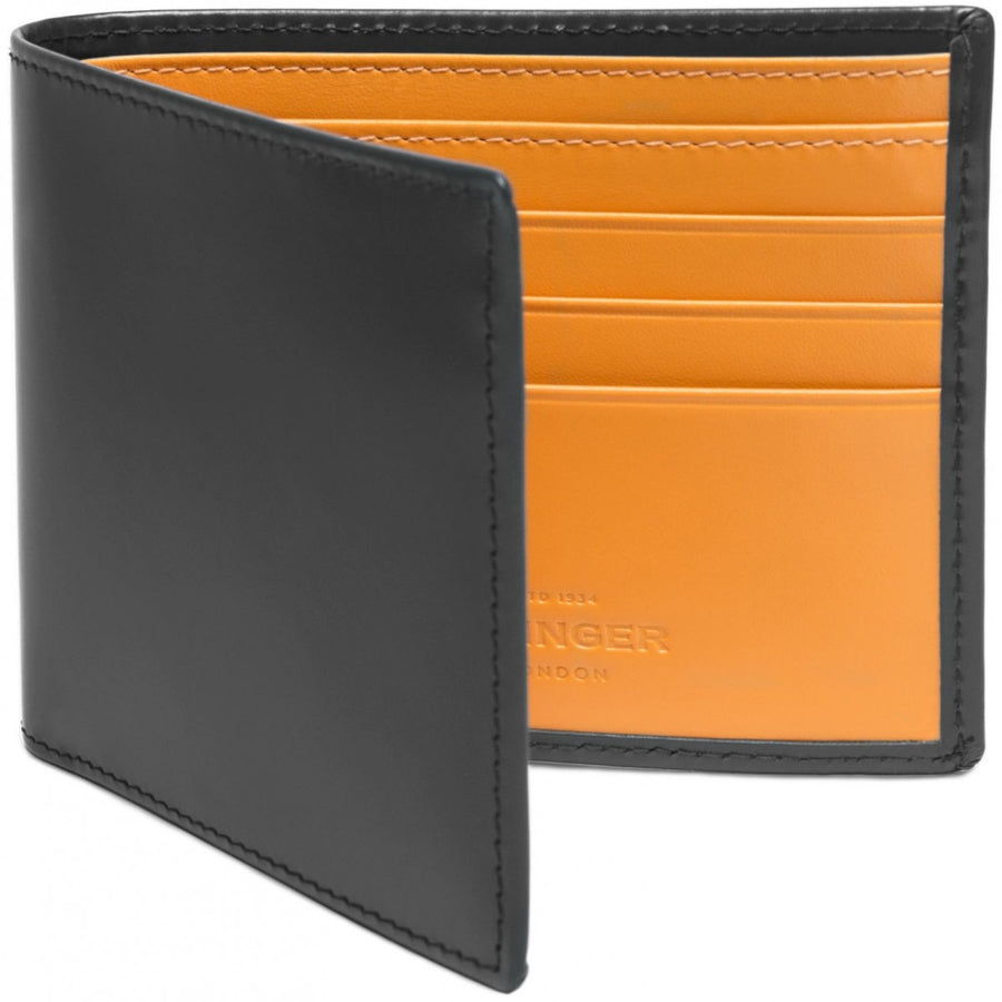 Ettinger Billfold Wallet with 6 Credit Card Slips, Bridle Hide Collection, Grey and London Tan