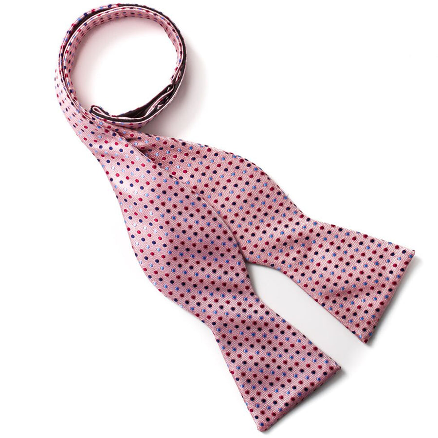 Bruno Piattelli Silk Self-Tie Polka Dot Bow Tie - Pink/Multicolor