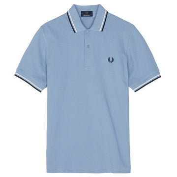 Fred Perry Twin Tipped Polo Shirt, Sky Blue/Snow White/Navy
