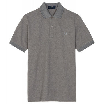 Fred Perry Made in England Twin Tipped Polo Shirt, Style M12, Grey Marl with Grey Stripes