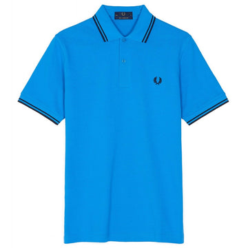 Fred Perry Made in England Twin Tipped Polo Shirt Kingfisher Blue with Navy Stripes