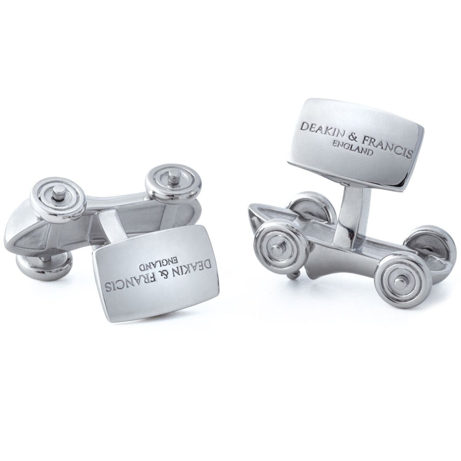 Deakin and Francis Rhodium Racing Car Cufflinks, Sterling Silver