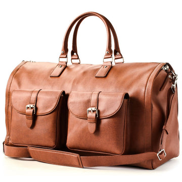 Hook and Albert Brown Pebbled Leather Garment Weekender Bag