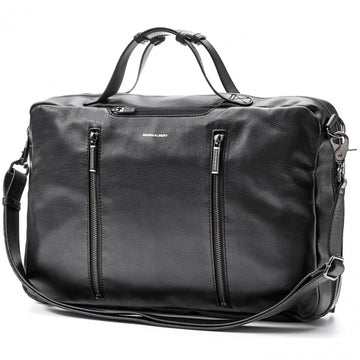 Hook and Albert Men's Leather 3 Way Multipurpose Bag, Black