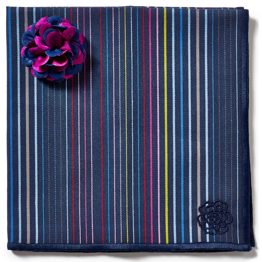 Hook and Albert Designer Pocket Square and Lapel Flower Set, Blue and Purple Flower Lapel and Multi