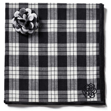 Hook and Albert Black and White Checked Designer Pocket Square and Grey, Black and Silver Lapel