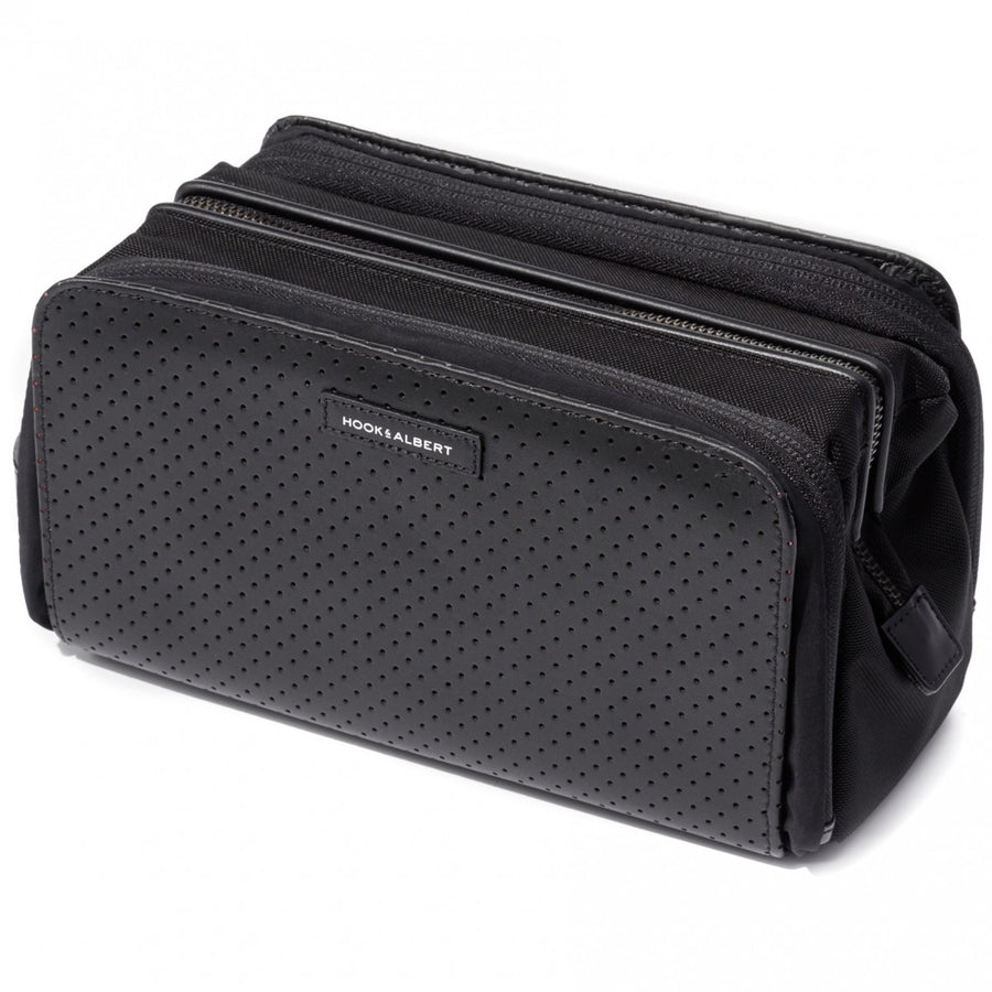 Hook and Albert Dopp Kit Perforated Black Leather