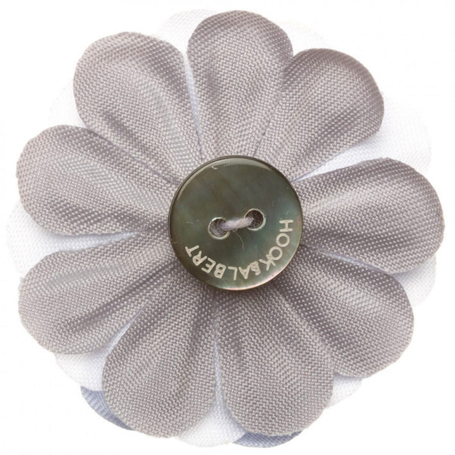 Hook and Albert Large Lapel Flower, Pale Blue, White and Gray