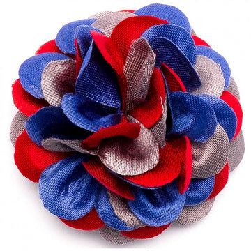 Hook and Albert Large Lapel Flower, Blue, Red and Gray