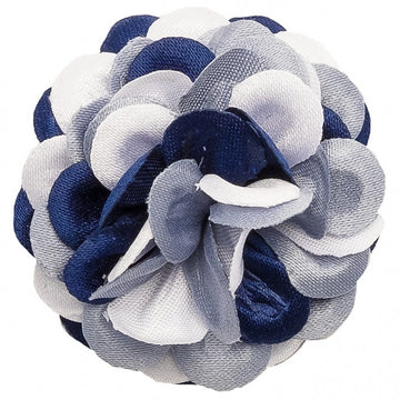Hook and Albert Large Lapel Flower, Blue, White and Gray