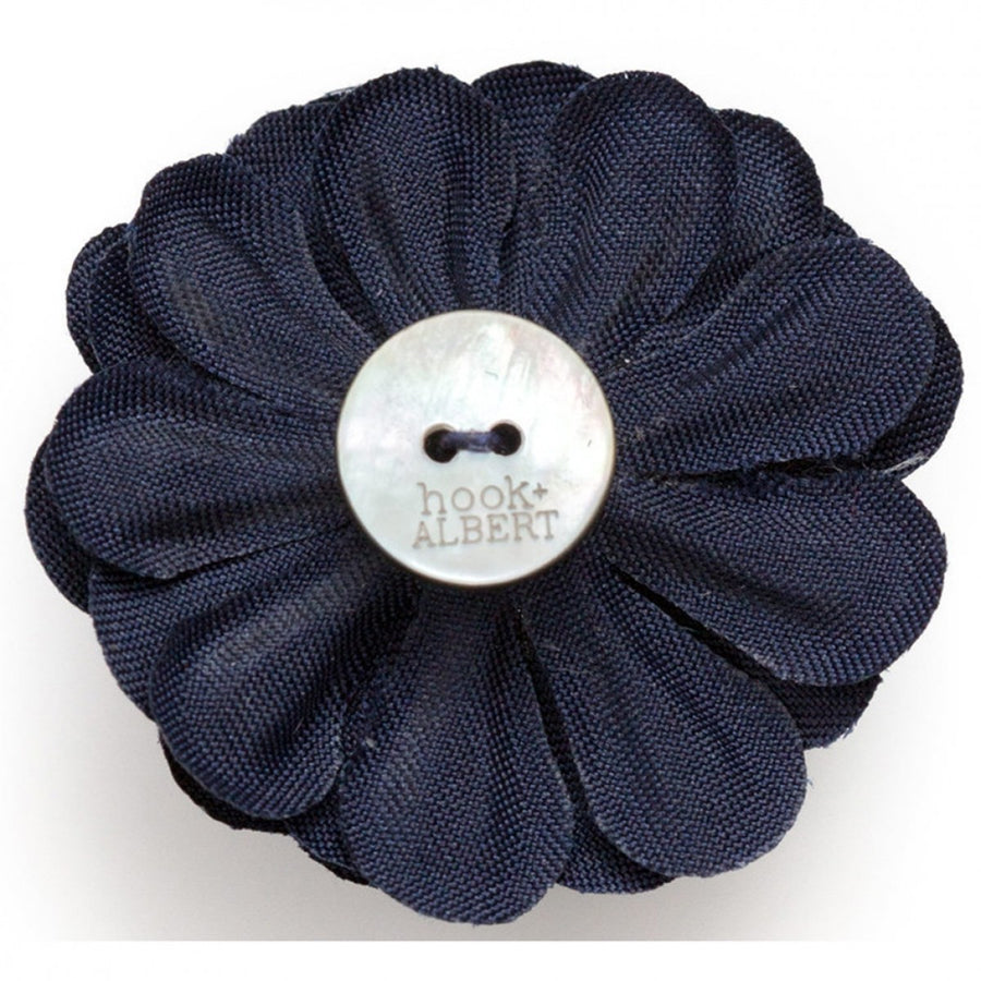 Hook and Albert Large Lapel Flower, Navy