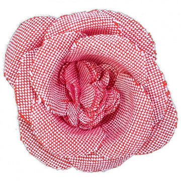 Hook and Albert Chambray Buttercup Large Lapel Flower, Red