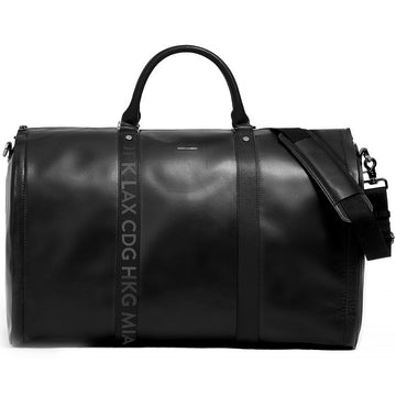 Hook & Albert Men's Black Leather with Black Airport Code Garment Weekender bag