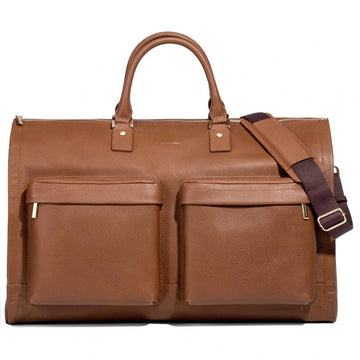 Hook & Albert Camel Leather Garment Weekender bag Alpine Collection
