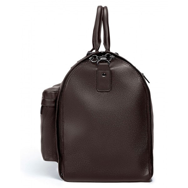 Hook and Albert Leather Garment Weekender Bag, Espresso Brown Leather