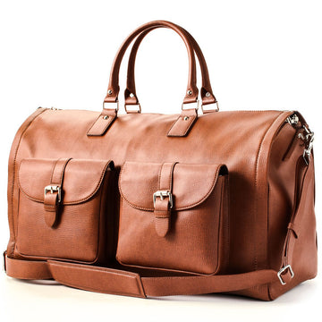 Hook and Albert Brown Leather Weekender Garment Duffle Bag