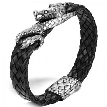 John Hardy Legends Collection Silver and Leather Naga Station Bracelet - upscaleman.myshopify.com
